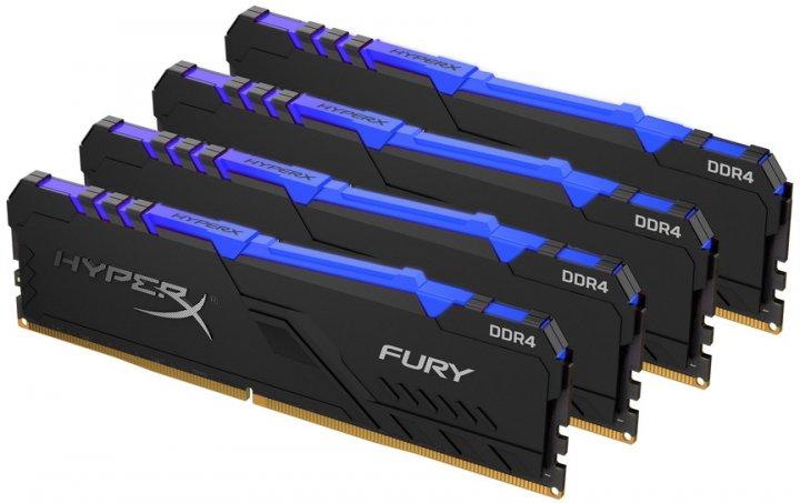 Оперативна пам'ять HyperX DDR4-3600 131072 MB PC4-28800 (Kit of 4x32768) Fury RGB (HX436C18FB3AK4/128) - зображення 1