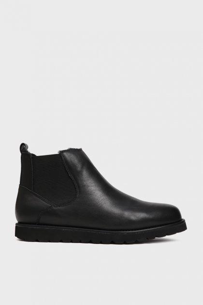 Мужские черные кожаные челси с мехом Dawson Preppy 45 XL18-78 - изображение 1