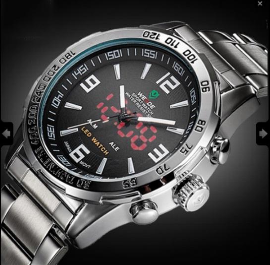 Мужские наручные часы Weide Led Steel, двойное время, подсветка - изображение 1