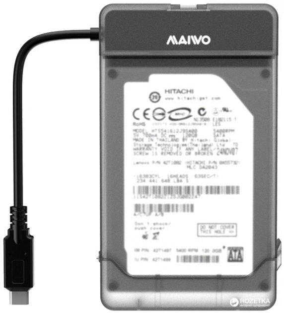 """Адаптер Maiwo для підключення HDD/SSD 2.5"""" SATA до USB3.1 Type-C Gen2 + контейнер захисний для HDD 2.5"""" (K104G2 black) - зображення 1"""