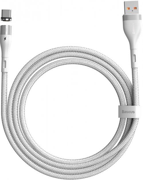 Кабель Baseus Zinc Magnetic Safe Fast Charging Type-C 3 A 1 м White (CATXC-M02) - изображение 1