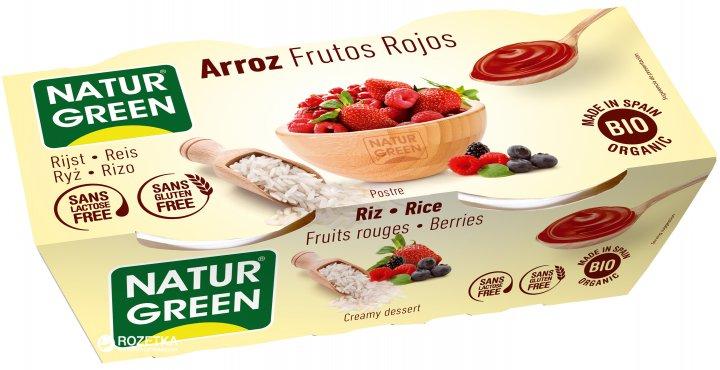 Органический растительный десерт NaturGreen из Риса с красными фруктами 2 х 125 г (8437011502308) - изображение 1