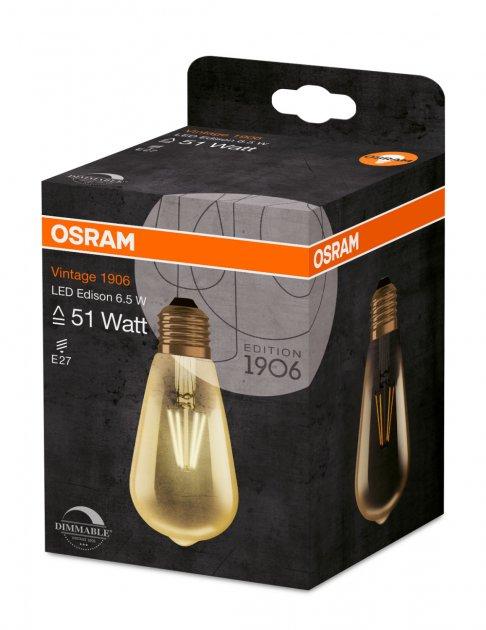 Світлодіодна лампа Osram LED 1906 Edison DIM 6.5W (650Lm) 2400K E27 (4052899972360) - зображення 1