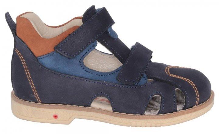 Сандалии TOPITOP 1096 для мальчиков сине-коричневые, нубук. Размер 35 - изображение 1