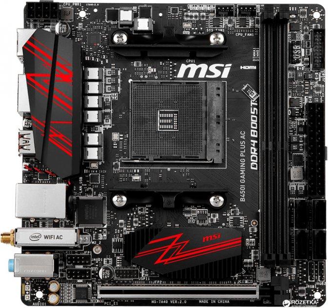 Материнская плата MSI B450I Gaming Plus AC (sAM4, AMD B450, PCI-Ex16) - изображение 1