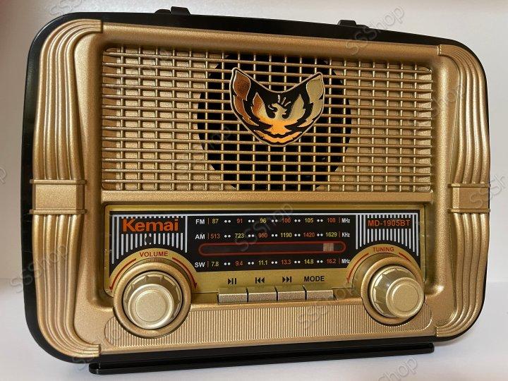 Аккумуляторный радиоприёмник колонка Kemai Retro (MD-1905BT) с Bluetooth и USB Gold - изображение 1
