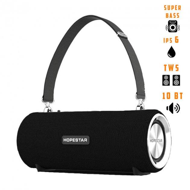Портативная беспроводная Bluetooth колонка Hopestar Hopestar H39 10Вт Black с влагозащитой IPX6, функцией зарядки устройств и радио (H39B) - изображение 1