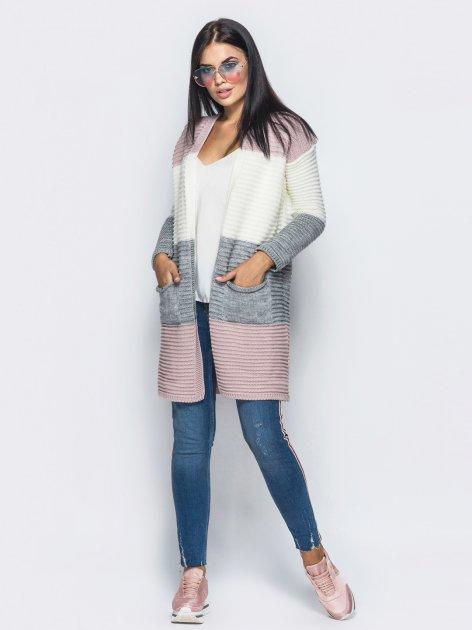 Кардиган Larionoff Anita 42-46 Розовый-молочный-серый