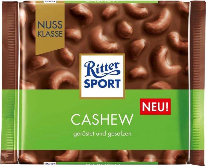 Шоколад Ritter Sport Nut Selection молочный с цельными орехами кешью 100 г (4000417707000) - изображение 1