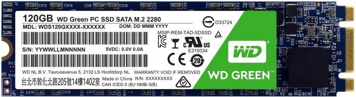Western Digital Green SSD 120GB M.2 2280 SATAIII 3D NAND (TLC) (WDS120G2G0B) - изображение 1