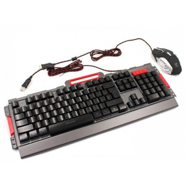 Комплект дротова клавіатура ігрова LED і миша Gaming set K33 6946 - зображення 1