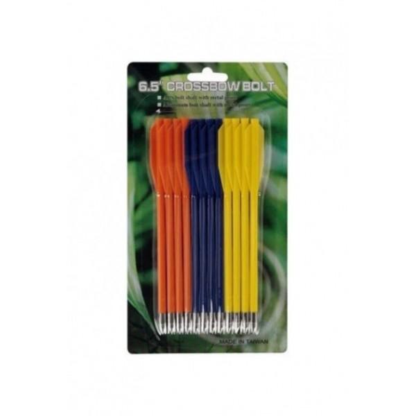 Стрелы для пист.арбалета Man Kung MK-PL-3C, пластик, 12 шт/уп, 3 цвета ц:желтый, синий, оранжевый - изображение 1