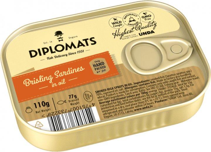 Сардины Diplomats подкопченные в масле 110 г (4750010022146) - изображение 1