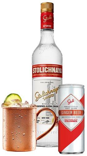 Набор для коктейля Stoli Mule Stolichnaya 1 л 40% 2 шт + Ginger Beer Stoli 0,25 л х 24 шт + кружка Stoli Mule (4750021500114) - изображение 1