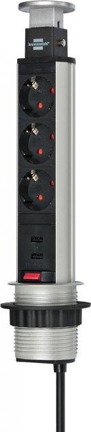 Удлинитель Brennenstuhl 3 розетки + 2 USB 2 м (1396200013) - изображение 1