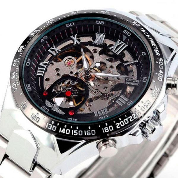 Чоловічий класичний механічний годинник Winner Action Silver 1535 - изображение 1