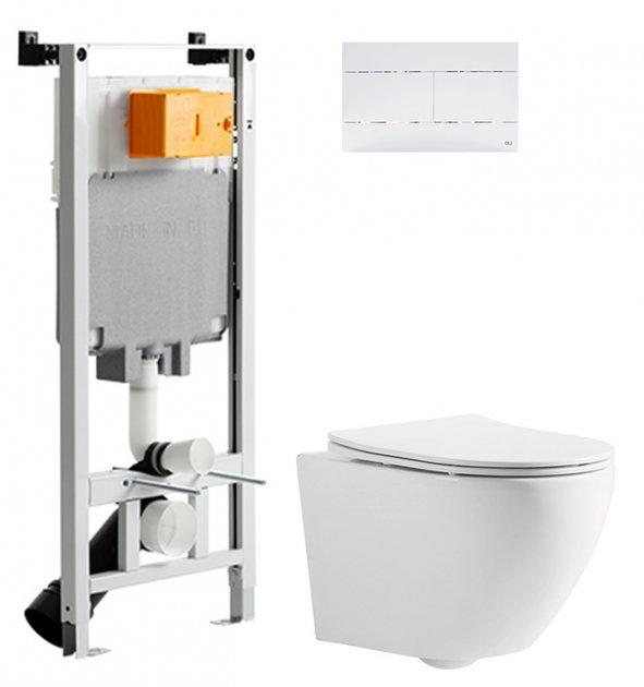 Інсталяція OLI 80 SanitarBlock з панеллю змиву Slim біла + унітаз DEVIT Universal 3020162 із сидінням Soft Close дюропласт - зображення 1