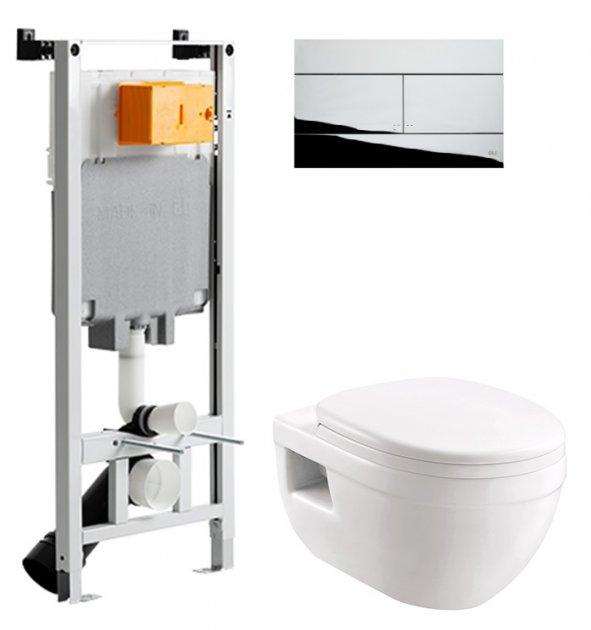 Інсталяція OLI 80 SanitarBlock з панеллю змиву Slim хром + унітаз DEVIT Project 3120147 із сидінням Soft Close дюропласт - зображення 1