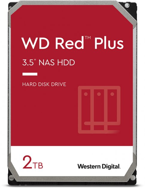 Жесткий диск Western Digital Red Plus 2TB 5400rpm 128МB WD20EFZX 3.5 SATA III - изображение 1