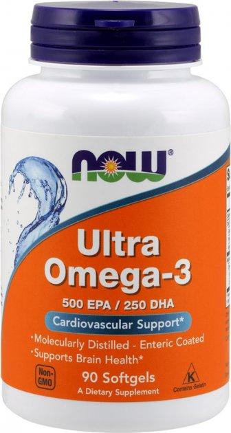 Жирные кислоты Now Foods Ultra Omega-3 90 желатиновых капсул (733739016614)