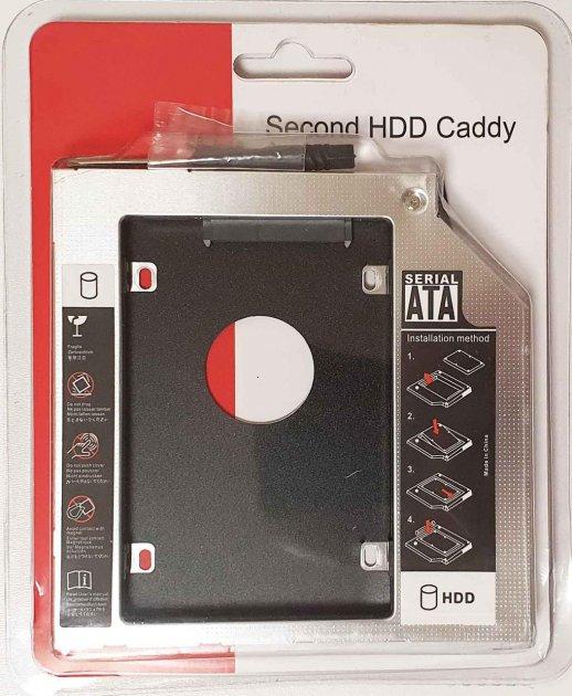"""Карман-переходник 12.7 мм для установки второго жесткого диска 2.5"""" SSD/HDD SATA 3.0 в отсек DVD (optibay caddy) - изображение 1"""