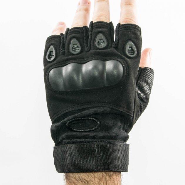 Тактические перчатки митенки с открытми пальцами и усиленным протектором косточек Mechanix (18171/1) Черный - изображение 1