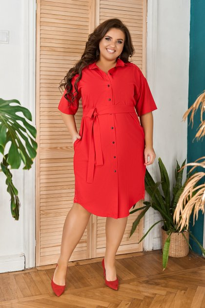 Платье-рубашка летнее большого размера с кружевом из гипюра So StyleM 60-62 Красный 1277-2 - изображение 1