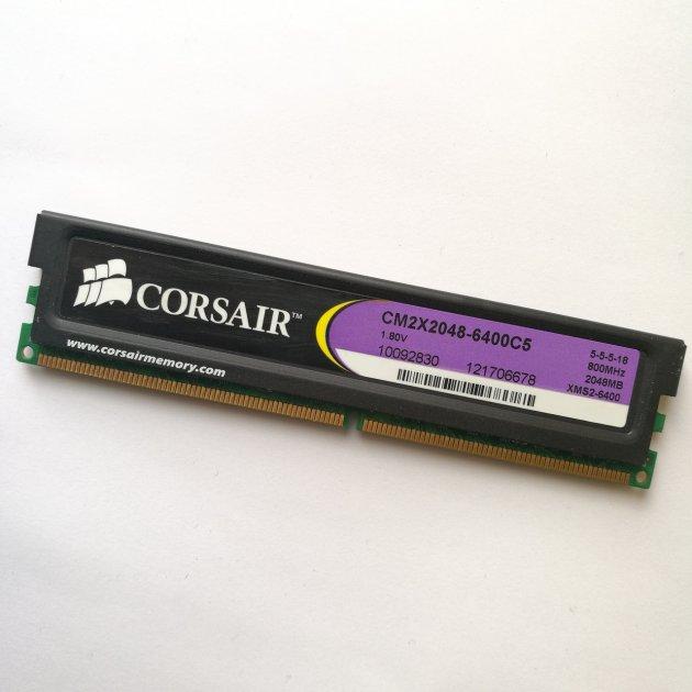 Ігрова оперативна пам'ять Corsair DDR2 2 Gb 800 MHz PC2 6400U CL5 (CM2X2048-6400C5) Б/У - зображення 1