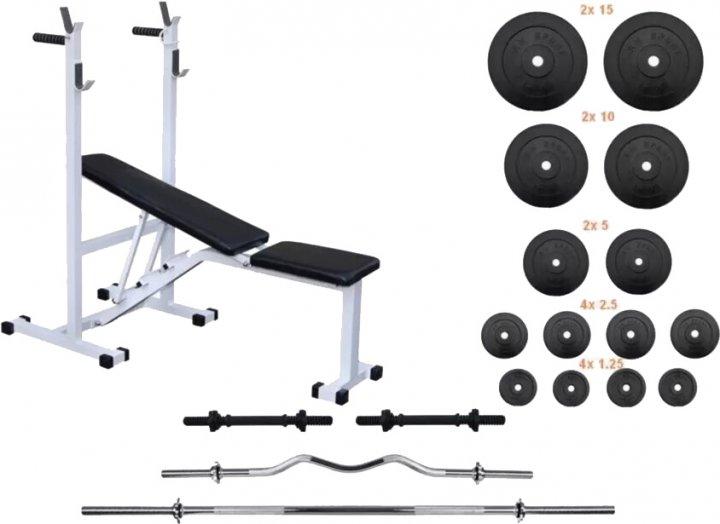 Скамья для жима RN-Sport Тор + 4 грифа + 75 кг блинов (RN-top_0467)