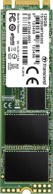Transcend SSD MTS830S 128GB M.2 SATA SATA III 3D-NAND TLC (TS128GMTS830S) - зображення 1