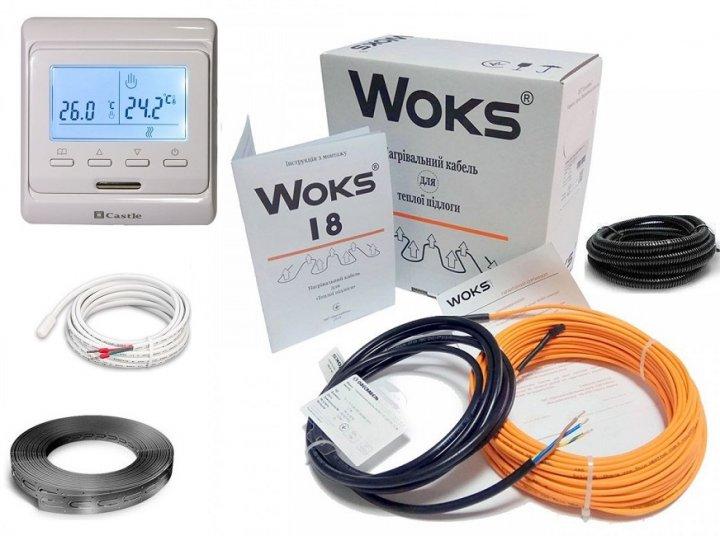 Тепла підлога нагрівальний двожильний кабель під плитку Woks 18Вт/м 6,0-7,5м2/1100Вт (60м) в комплекті з програмованим терморегулятором та датчиком температури підлоги - изображение 1