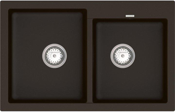 Кухонна мийка VANKOR Orman OMP 05.80 Chocolate + сифон подвійний VANKOR Стандарт - зображення 1