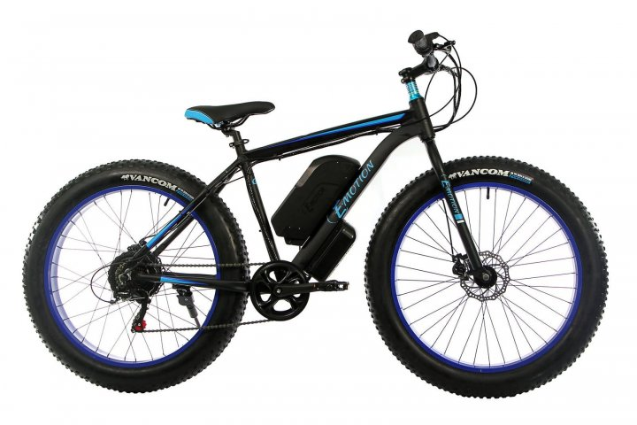 "Електровелосипед E-motion Fatbike GT 48V 15Ah 1000W 26"" / рама 19"" чорно-синій (EFBGT48151000-BB) - зображення 1"