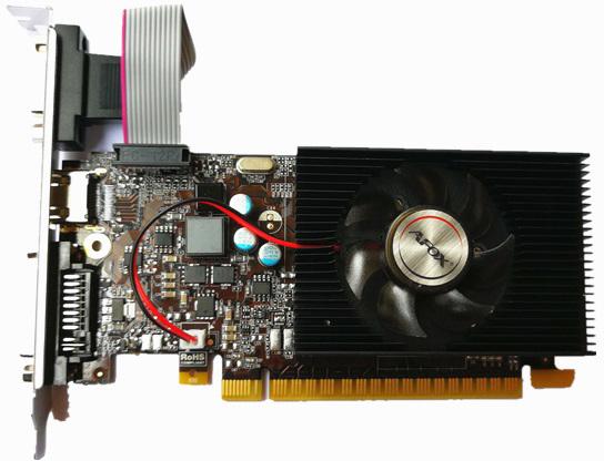 AFOX PCI-Ex GeForce GT 730 2GB GDDR3 (128bit) (954/1333) (VGA, DVI, HDMI) (AF730-2048D3L6) - зображення 1