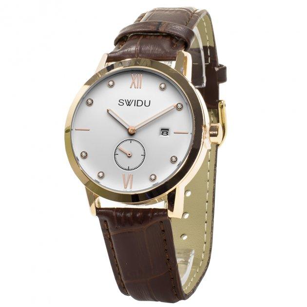 Чоловічі годинники SWIDU SWI-018 Brown + White - зображення 1