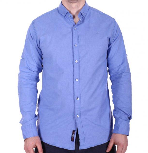 Рубашка однотонная Rigans o0218 синяя M - изображение 1