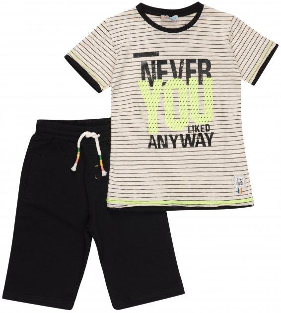Костюм (футболка + шорты) Mackays TK 6000 110-116 см Молочный с черным (ROZ6205088282) - изображение 1