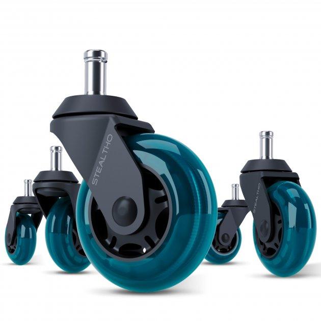 Сменные ролики STEALTHO для офисного кресла Barsky Rondi DxRacer GamerPro AKRacing AMF колесики черно-голубые 5шт, шток 11мм - изображение 1