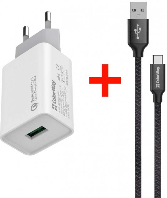 Сетевое зарядное устройство ColorWay 1USB Quick Charge 3.0 (18W) White + Кабель ColorWay USB Type-C 2.1А 1 м Black (CW-CHS013Q-WT-CBU) - изображение 1