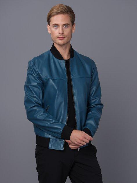 Мужская кожаная куртка BASICS & MORE Синий 2XL (BA7018528) - изображение 1