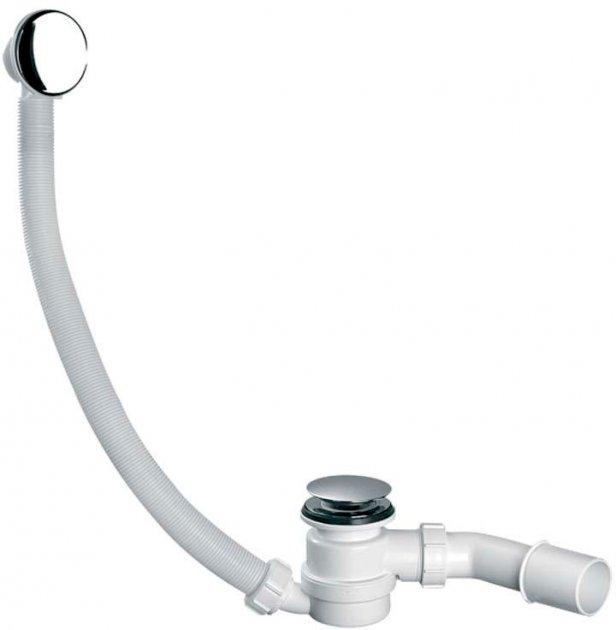 Сифон пластиковый для поддона/ванны McALPINE 50 мм Cliсk-Claсk h90 мм c латунной накладкой 70х40/50 мм (5036484015761)