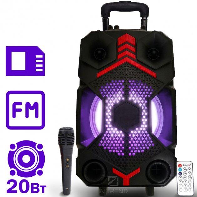 Музыкальная USB колонка Column ZQS-8102 беспроводная акустическая блютуз с LED подсветкой + пульт д/у + проводной микрофон для улицы и дома - Портативная переносная Bluetooth караоке система с мощными динамиками и аккумулятором, Чёрный - изображение 1