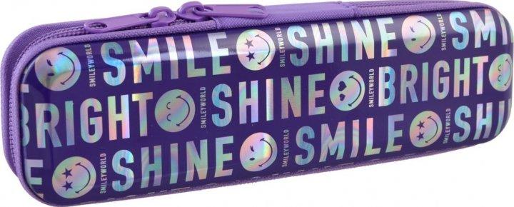 Пенал Yes Smiley world металлический 1 отделение Фиолетовый (532262) - изображение 1