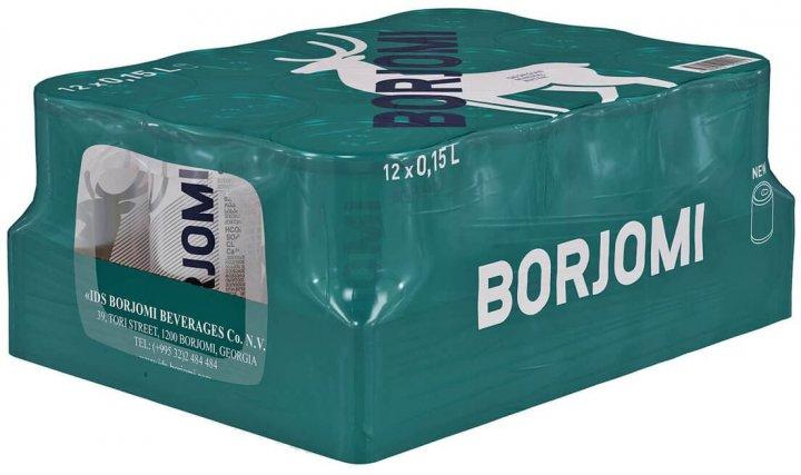 Упаковка минеральной лечебно-столовой сильногазированной воды Borjomi 0.15 л х 12 банок (4860019002190) - изображение 1