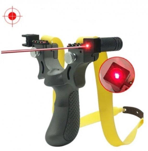 Компактная туристическая спортивная рогатка SYQT для охоты и спорта с лазерным прицелом - изображение 1