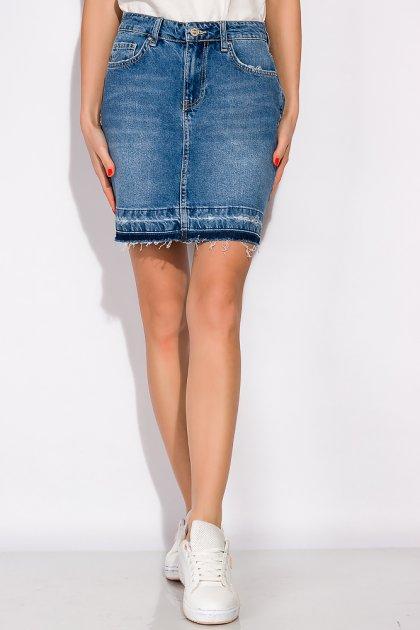 Спідниця джинсова 148P084 (Світло-синій) T&M XL Розмір колір Світло-синій - зображення 1