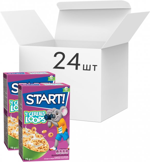 Упаковка сухого завтрака Start кольца глазированные с зернами 4 видов 75 г х 24 шт (4820008123855) - изображение 1