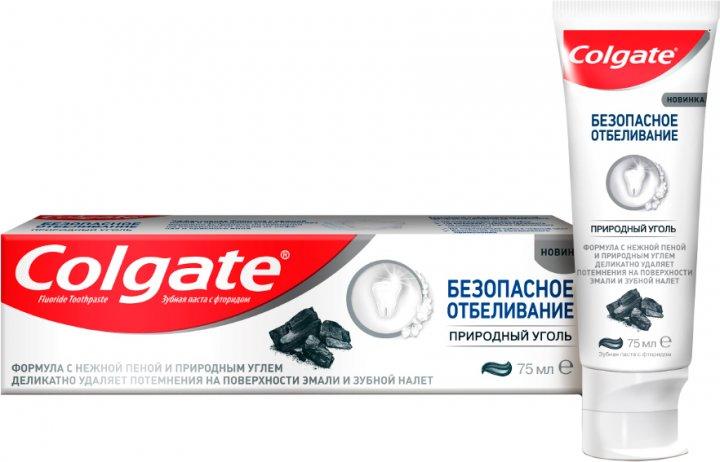 Зубная паста Colgate Безопасное отбеливание Природный уголь отбеливающая 75 мл (8718951254985) - изображение 1