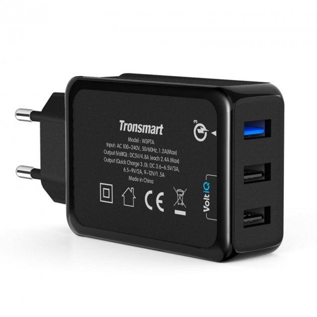 Зарядний устройствоTronsmart W3PTA Qualcomm Quick Charge 3.0/Smart USB - зображення 1