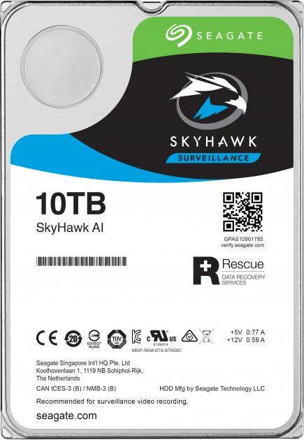 "Жорсткий диск Seagate SkyHawk Al HDD 10TB 7200rpm 256MB ST10000VE0008 3.5"" SATAIII - зображення 1"